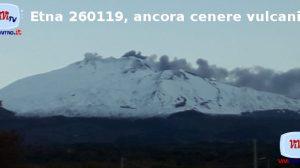 Etna 260119, ancora cenere vulcanica