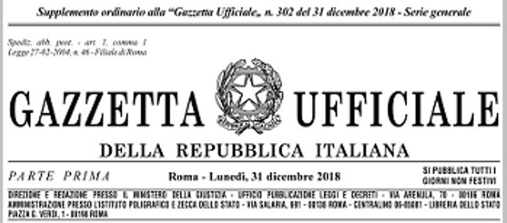 Legge di Bilancio in Gazzetta Ufficiale, copertina