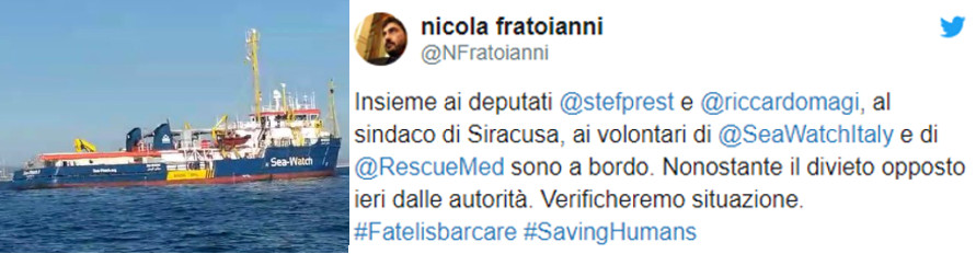 Nicola Fratoianni su Twitter per Sea Watch 3 260119
