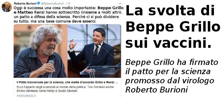 Roberto Burioni su adesione di Beppe Grillo e Matteo Renzi a sua campagna Pro VAX