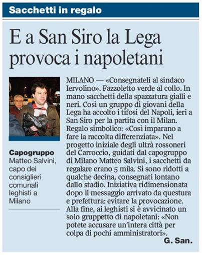 Salvini 10 anni fa per Milan Napoli