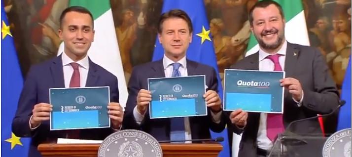 Salvini, Conte e Di Maio in conferenza su Rdc e Quota 100, il nuovo welfare state