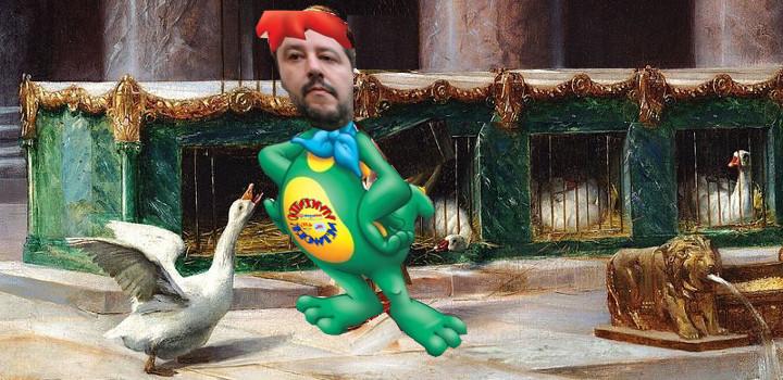 Salvini come oca del campidoglio dopo vicenda Diciotti e Sea Watch a Catania