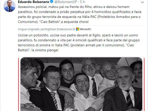Twitter di Jair Bolsonaro su cattura di Battisti