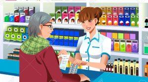Farmacia, anziana al banco