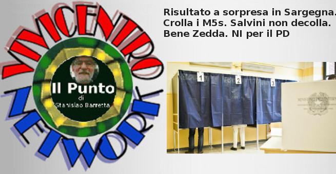 Risultato a sorpresa in Sargegna. Crolla i M5s. Salvini non decolla. Bene Zedda. NI per il PD