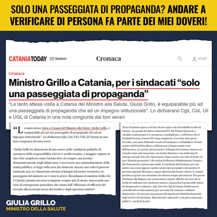 Il ministro Grillo risponde alla contestazione dei sindacati