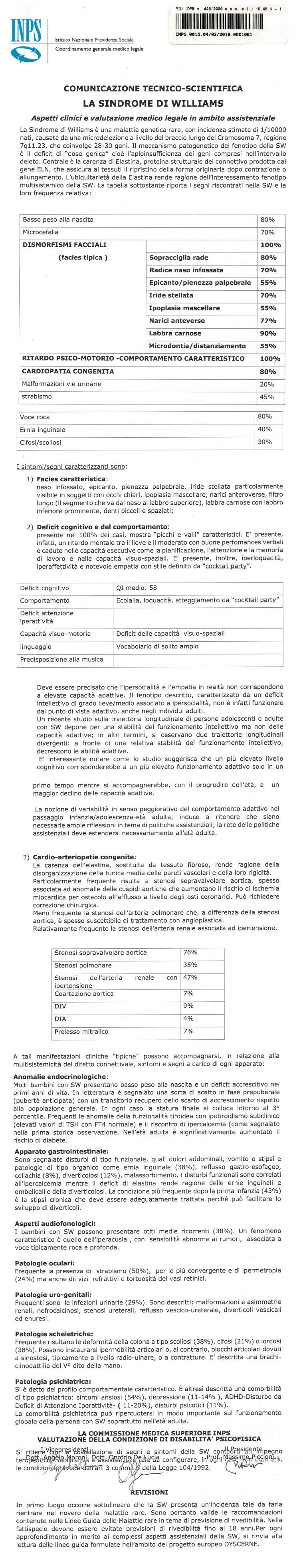 Commissione medica superiore, sindrome di Williams