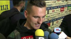 Arek Milik mixed zone Chievo Napoli 140419