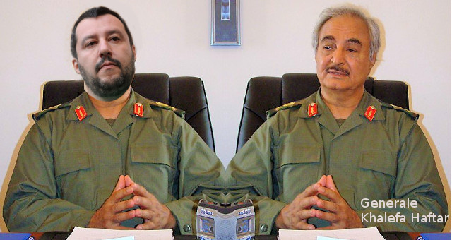 Combi Generale Khalifa Belqasim Haftar e Salvini