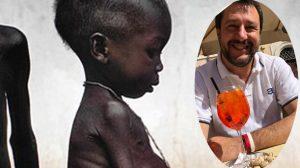Combi Salvini e bimbo affamato