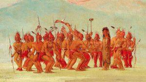 Disegno di una danza cerimoniale in onore di una persona 'due spiriti' (pubblico dominio)