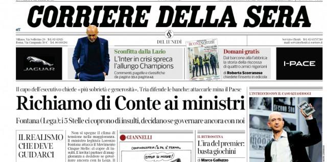 Prima pagina de Il Corriere della Sera 010419