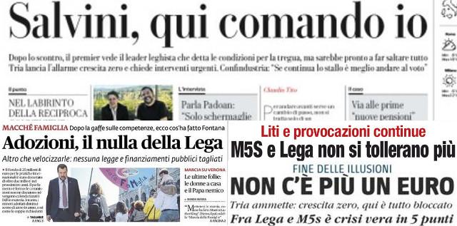 Prime pagine di alcuni giornali del 010419