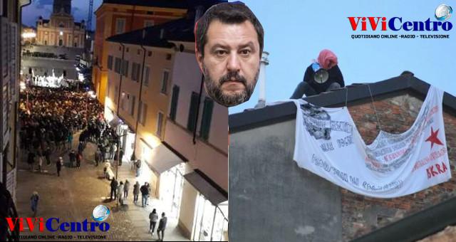 CARPI, Combi striscione di dissenso per comizio di Salvini