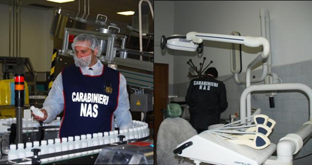 Carabinieri NAS integratori e studi odontoiatrici COMBI