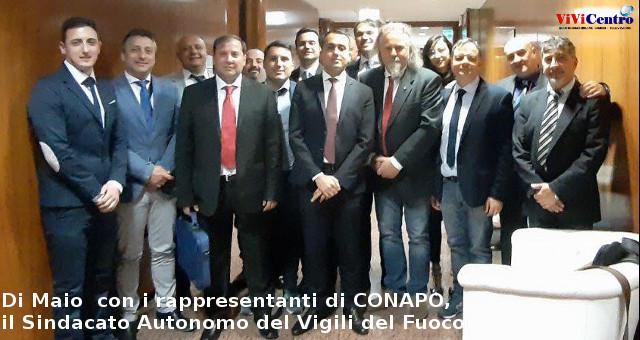 Di Maio con i rappresentanti di CONAPO, il Sindacato Autonomo del Vigili del Fuoco