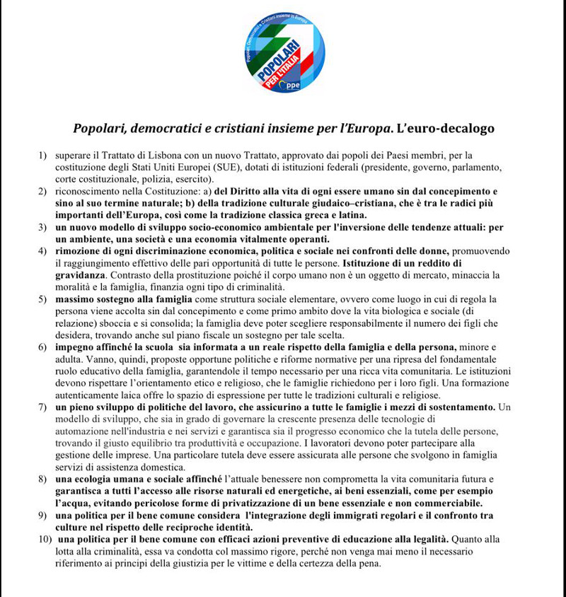 Dott Francesco Fazio - Programma Popolari per l'Italia