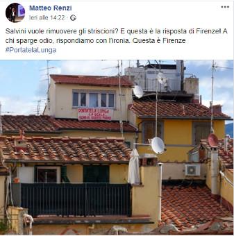 Lenzuolo di protesta a Firenze (da FB Renzi)