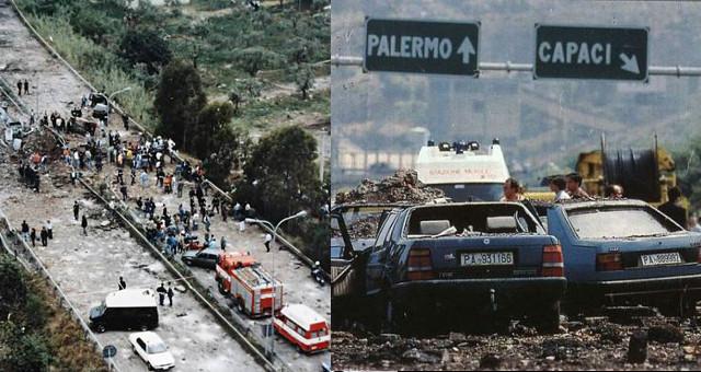 23 Maggio 1992 - Strage di Capaci, Combi con foto free da ns archivio