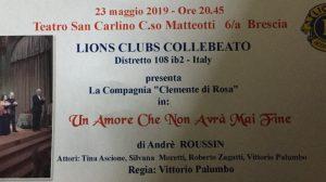 Un amore che non avrà mai fine Raccolta fondi Lions Clubs Collebeato
