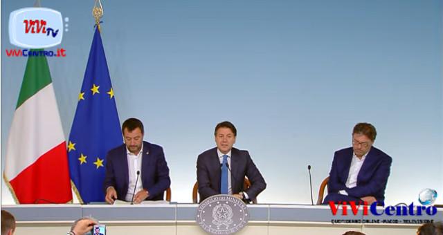 Approvazione Decreto Sicurezza Bis, conferenza stampa Conte - Salvini - Giorgetti