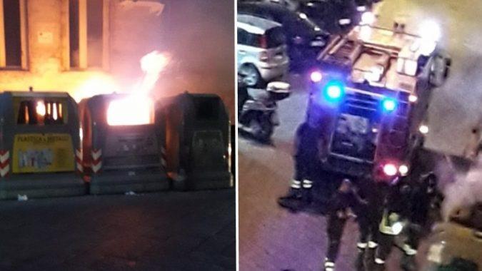 cassonetti bruciati foto free facebook Napoli