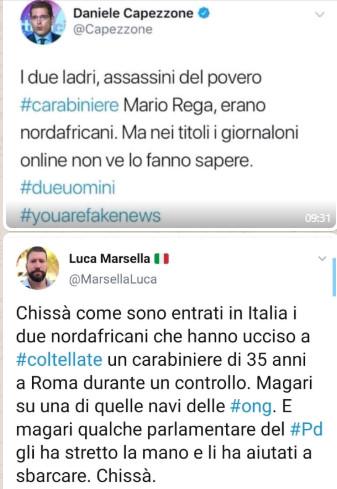 Alcuni twitter sulla morte del carabiniere