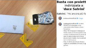 Busta con proiettile indirizzata a 'Duce Salvini' (foto da twitter Salvini)