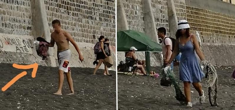 Castellammare turisti puliscono spiaggia foto free facebook