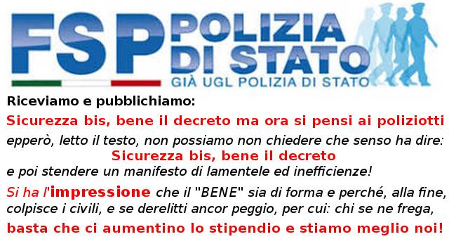 FSP Polizia di stato su Decreto Sicurezza Bis