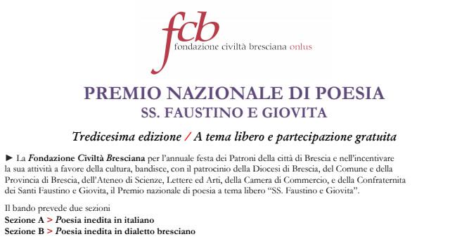 Fondazione Civiltà Bresciana Premio nazionale di poesia inedita