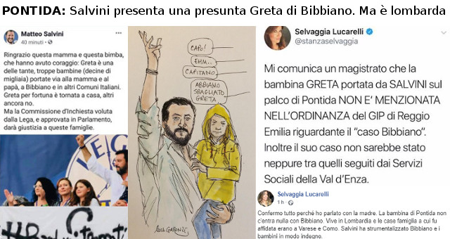 Pontida, Salvini presenta una presunta Greta di Bibbiano. Ma è lombarda