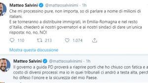 Salvini scende i piazza e su twitter si dichiara pronto a farsi processare