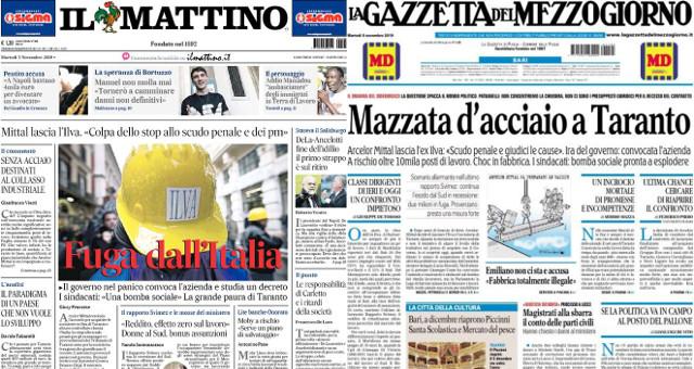 La fuga di Arcelor-Mittal da Taranto sui quotidiani odierni 051119