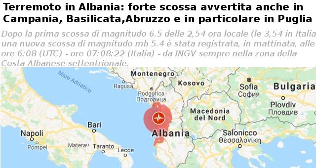 Terremoto in Albania 261119 (foto da Google map)