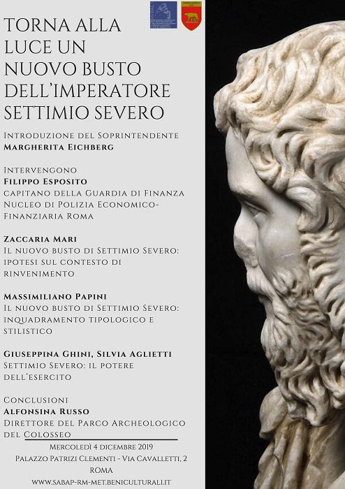 Programma presentazione busto in marmo Settimio Severo