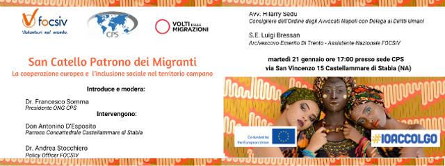 Locandina conferenza su San Catello Patrono dei Migranti