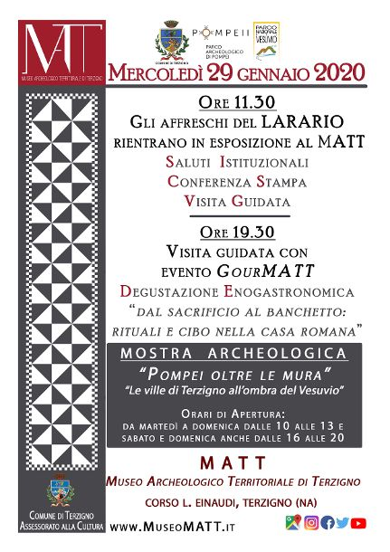 """Mostra Archeologica """"Pompei oltre le mura"""" al MATT"""