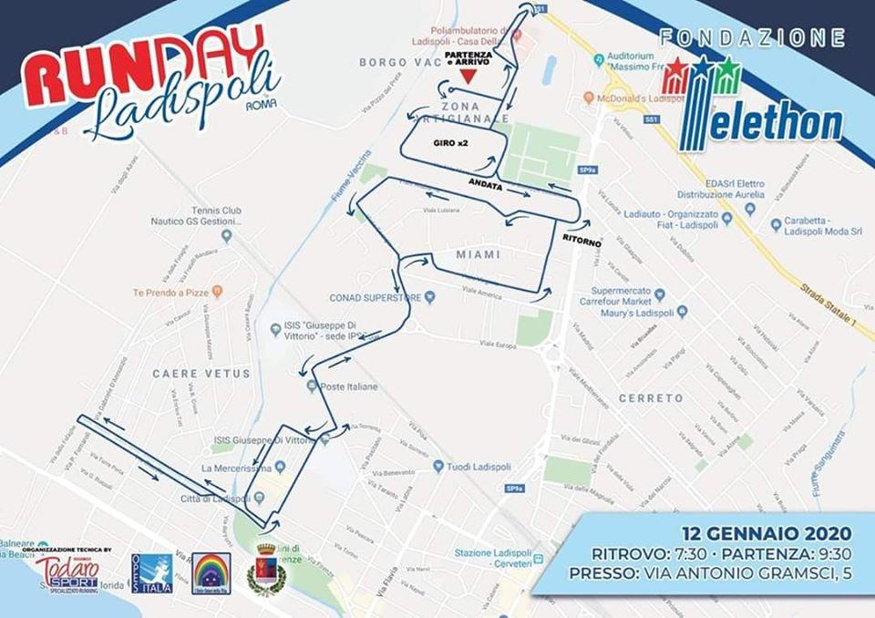 Percorso Runday Ladispoli 12 gennaio 2010