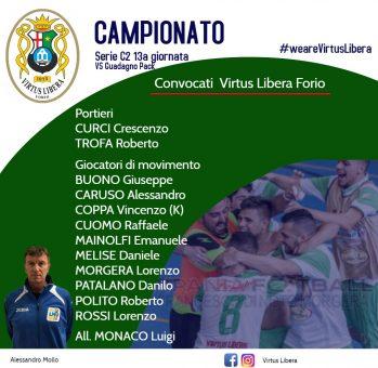 C5, Serie C2 Virtus Libera,c'è il big match contro la Futsal Guadagno Pack