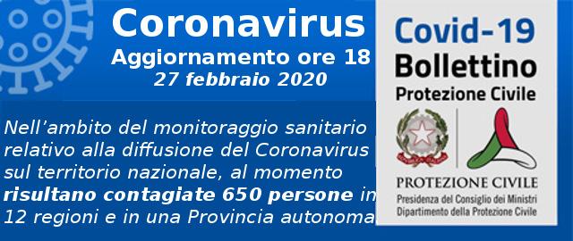 Coronavirus Covid19, aggiornamento ore 18 del 27 feb 2020