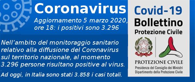 Aggiornamento Coronavirus 5 marzo 2020