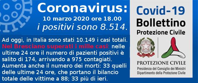 Coronavirus Covid19 Comunicati Protezione Civile del 10 marzo 2020