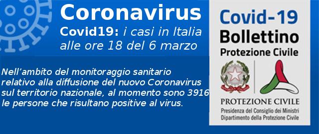 Coronavirus Covid19 i casi in Italia alle ore 18 del 6 marzo