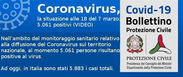 Coronavirus, la situazione alle 18 del 7 marzo