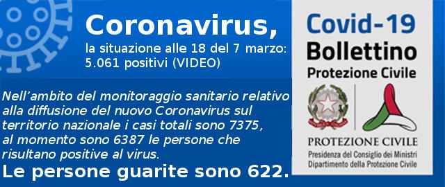 Coronavirus, la situazione alle 18 del 8 marzo