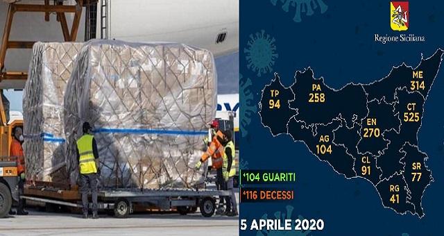 40 tonnellate di presidi sanitari per gli ospedali dell'Isola