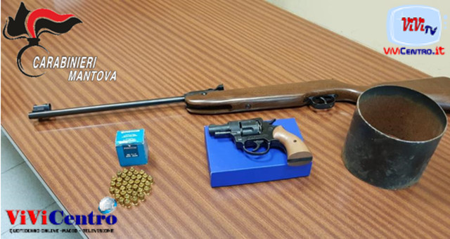 Carabinieri Castel Goffredo, sequestro fucile e pistola