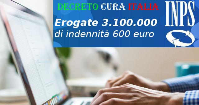 Decreto Cura Italia, erogate più di 3milioni di indennità 600 euro